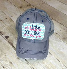 82bd84bfe82 Lake Hair Don t Care Embroidered Aqua and White Chevron Raggy Patch Distressed  Trucker Hat   Messy Bun High Ponytail Solid Grey Baseball Cap