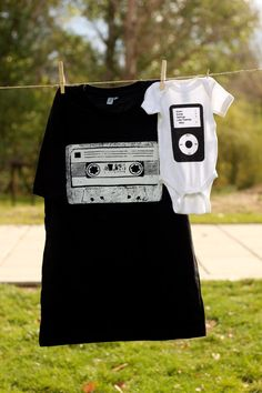Daddy and Me Cassette and Ipod Shirt Set Or by littletreetopsbaby