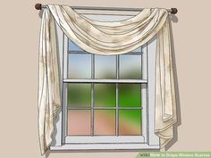 How to Drape Window Scarves. A window scarf, smartly hung, can highlight an entire room. Use a window scarf to cover up a curtain rod, or install scarf hooks to hang a window. Window Swags, Valance Window Treatments, Window Coverings, Drapes And Blinds, Home Curtains, Curtain Styles, Curtain Designs, Scarf Curtains, Living Room Drapes