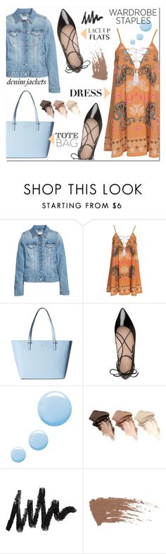 """""""Denim Jacket"""" by cowseatchard ❤ liked on Polyvore featuring Kiss The Sky, Kate Spade, Topshop, Urban Decay, denimjackets and WardrobeStaples"""