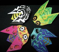 Origami Cicada - instructions and paper to print on flickr by Jacque Davis