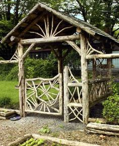 Your backyard will lose its prominence without a garden gate. Try these 39 gorgeous garden gate ideas below and make your own one. You will find these garden gates are not limited to creativity. Garden Gates And Fencing, Garden Arbor, Garden Paths, Garden Beds, Twig Furniture, Garden Furniture, Furniture Plans, Kids Furniture, System Furniture