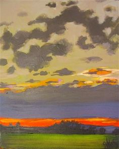 This sky is on Fire - original acrylic landscape by Gretchen Kelly -- Gretchen Kelly