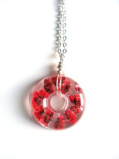 Red Baby Breath Necklace - Real flowers in Resin -  Pressed Flower Jewelry, Resin Necklace, Wire Wrapped Pendant,  Donut Pendant by ScrappinCop on Etsy