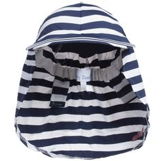 Mitty James - Boys Navy Blue Striped Sun Protective Hat | Childrensalon