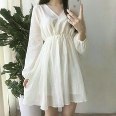 Korean Girl Fashion, Ulzzang Fashion, Cute Fashion, Asian Fashion, Spring Fashion, Fashion Tips, Simple Dresses, Cute Dresses, Beautiful Dresses