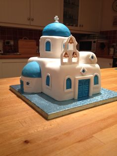 Santorini birthday cake