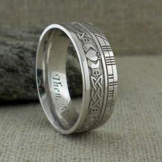 Irish 7.5 Celtic Claddagh Wedding Ring with Customized Ogham | Etsy