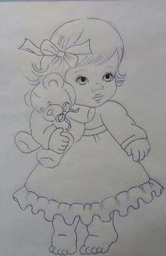 Only a few simple strokes can make a perfect drawing - drawing perfect simple strokes - DecorationDrawing Girly Drawings, Pencil Art Drawings, Art Drawings Sketches, Hand Embroidery Patterns, Embroidery Designs, Coloring Books, Coloring Pages, Baby Motiv, Children Sketch