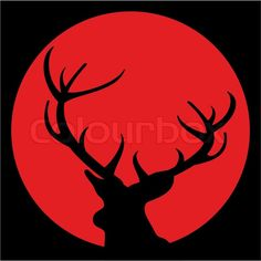 Stock vector of 'Silhouette of deer with antlers against moon on black sky - vector illustration. Avatar.'