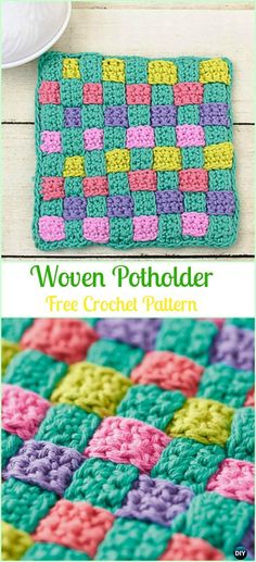 Crochet Gift Patterns Crochet Woven Potholder Free Pattern - Crochet Pot Holder Hotpad Free Patterns - Crochet Pot Holder Hotpad Free Patterns: A collection of crochet potholders and hotpads free patterns, square, circle, flower and animal. Crochet Potholder Patterns, Crochet Dishcloths, Tunisian Crochet, Knit Or Crochet, Cute Crochet, Crochet Home, Easy Crochet, Crochet Stitches, Knitting Patterns