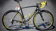 Vincenzo Nibali's yellow #Specialized S-Works Tarmac, Tour de France - 2014 #PersonalTrainerBologna #bicicletta #bici #bdc #sport #endurance #alimentazione #triathlon #duathlon
