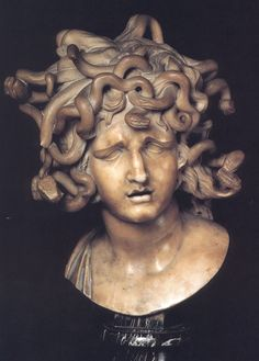 Head of Medusa by Giovanni Lorenzo Bernini, an Italian architect, sculptor and painter Bernini Sculpture, Gian Lorenzo Bernini, Marble Bust, Turn To Stone, Medusa Head, Medusa Art, Medusa Gorgon, Small Sculptures, Greek Gods