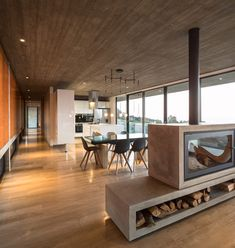 Felipe Assadi's linear H House stretches along the Chilean coast - Architektur - Star home Minimalist Fireplace, Double Sided Fireplace, Rustic Contemporary, Staircase Design, Fireplace Design, Living Room Decor, Architecture Design, Sweet Home, New Homes