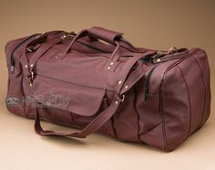 "Genuine Handcrafted Leather Duffle Bag 23"""" -Burgundy (b18)"
