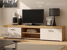 Modern TV Cabinet 180 cm Lowboard Stand, Matt (Oak Body White Fronts)