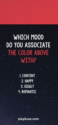 Do you see red as anger or lust? Is blue calm or gloomy? Find out what your color-mood association says about your personality!