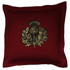 Thistle cushion Black & Gold on Crimson Gold Throw Pillows, Toss Pillows, Accent Pillows, Timorous Beasties, Cushion Filling, Velvet Cushions, Designer Pillow, Cool Wallpaper, Designer Wallpaper