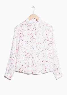 & Other Stories image 1 of  Palm Breeze Print Button-Down Shirt in White Palm Breeze Print
