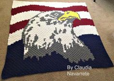 Patriotic Eagle C2C Graph and Word Chart by CrochetCouch on Etsy