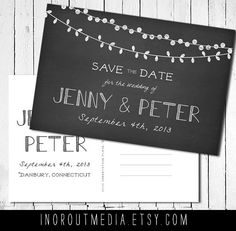 Save the Date postcard - Chalkboard with strung lights, chalk style with postcard back, STD, save the date card. $55.00, via Etsy.