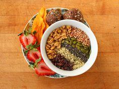 ... granola, cacao nibs, hemp hearts, chia seeds, pumpkin seeds, and