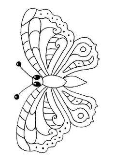 Un papillon qui bat des ailes, à colorier