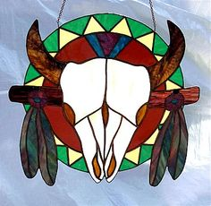 Stained Glass Southwestern Skull