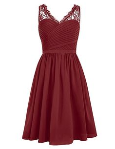 Dresstells Short Homecoming Dress V-neck Ruched Chiffon Bridesmaid Prom Dress Dark Red Size 4