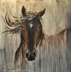 Contemporary Horse painting in brown gray by heartifactsgallery, $425.00