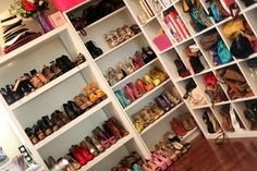 She has a shoe fetish. Naturally, shed have an amazing shoe closet. I imagine hers is only half the size of this one, though she has the biggest walk-in closet in the house. Closet Space, Walk In Closet, Shoe Closet, Shoe Room, Closet Office, Wardrobe Closet, Teen Closet, Closet Clothing, Pink Closet