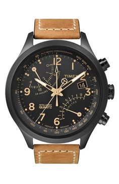 Timex Watch, Men's Intelligent Quartz Fly-Back Chrono Tan Leather Strap - Watches - Jewelry Watches - Macy's Dream Watches, Luxury Watches, Cool Watches, Watches For Men, Herren Chronograph, Brown Leather Strap Watch, Tan Leather, Smooth Leather, Timex Watches