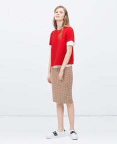Image 1 of JACQUARD MINI SKIRT from Zara