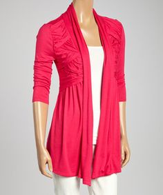Another great find on #zulily! Colour Works Pink Pleated Open Cardigan by Colour Works #zulilyfinds