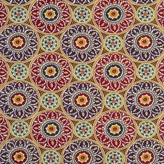 400NX Red, Green, Yellow, Purple and Brown Printed Outdoor Indoor Upholstery Fabric By The Yard