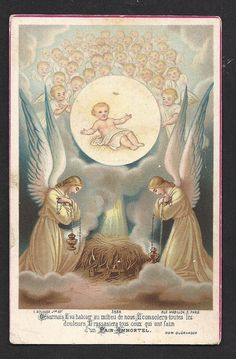 Beautiful Antique Eucaristic Nativity Angelic Holy Card. Rare French Antique. A Catholic Masterpiece.