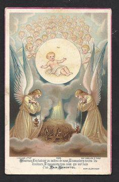 Beautiful Antique Eucaristic Nativity Angelic Holy Card. Rare French Antique. A Catholic Masterpiece.