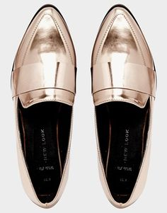 Enlarge New Look Wide Fit Leavy Rose Gold Metallic Flat Shoes