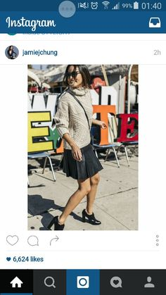 Chunky sweater and pleated skirt