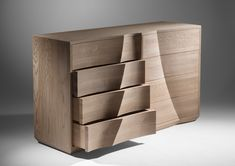 """Sliabh"" - John Lee 2016. Bespoke chest of drawers in Solid Oak featuring textured surfaces. www.johnleefurniture.com"