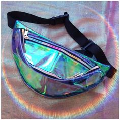 Iridescent Opal Mermaid Fanny Pack Festival Bag with Rainbow Zippers (465 ZAR) ❤ liked on Polyvore featuring bags, colorful fanny pack, rainbow bag, colorful bags, zipper bag and waist fanny pack