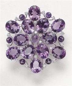"chasingrainbowsforever: "" Margherita Burgener ~ Amethyst and Diamond Brooch """