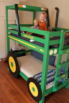 DIY::Homemade John Deere Tractor Bunk Bed - Paisley 'Bulmer' - can so see one of these is Logie's room :-) Bedroom Themes, Kids Bedroom, Bedrooms, Tractor Bed, Cool Diy, Boy Room, Bunk Beds, Kids Playing, Tractors