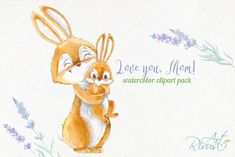 Cute bunny and mom Mother's day watercolor clipart with rabbits. Lavender flowers Mother's day gift Netter Hase und Mutter Muttertag Aquarell Clipart mit Watercolor Clipart, Watercolor Art, Watercolor Animals, Card Making Kits, Mothers Day Flowers, Love Mom, Cute Bunny, Graphic Illustration, Pencil Illustration