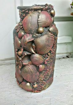 mixed media altered bottle seashell