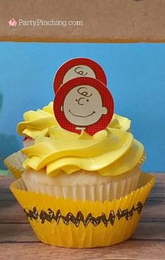 Charlie Brown cupcakes, - The Peanuts Movie Party by PartyPinching.com