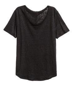 Leinenshirt mit Rundausschnitt | Schwarz | Damen | H&M DE