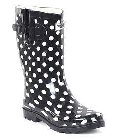 Black Polka Dot Short Rain Boot