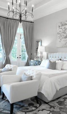 Grey and White Bedroom Design. Grey and White Bedroom Design. Bedroom Decor Gorgeous Gray and White Bedroom Decor with White Bedroom Decor, White Bedroom Furniture, Bedroom Black, Dream Bedroom, Home Decor Bedroom, Summer Bedroom, Bedroom Curtains, Bedroom Colors, Bedroom With Sofa