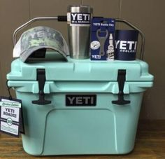 Seafoam Yeti Coolers 20 QT Easter Package Cooler, Rambler, Hat, Opener, &…